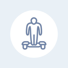 hoverboard line icon, man on hoverboard isolated on white, vector illustration