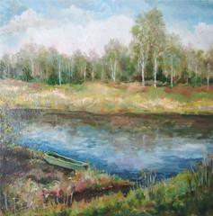 Picture oil paints on a canvas: spring landscape