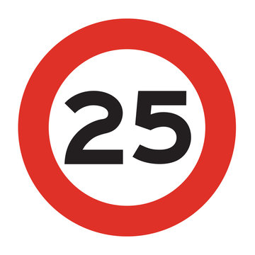 Speed limit road sign. Speed limit 25 icon. Isolated illustration of circle speed limit traffic sign with red border.