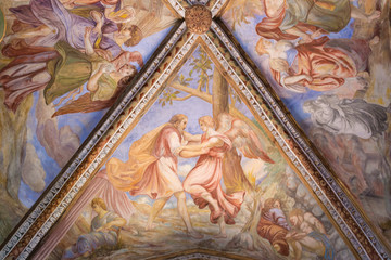Ceiling painting in cathedral di San Bartolomeo Aeolian Islands Lipari near Sicily, Italy