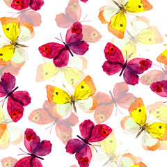 Seamless spring wallpaper with colorful watercolor hand painted butterflies