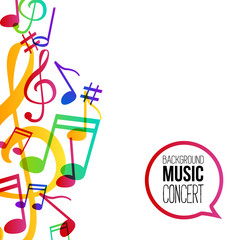 Music background. Musical background with musical notes. Vector rainbow colorful background