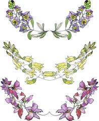 Set of watercolor floral borders