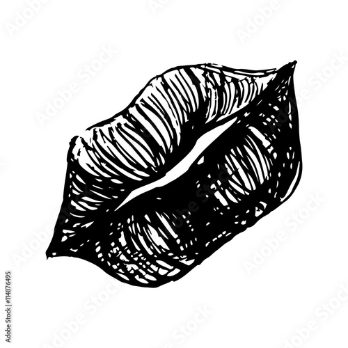 Line Art Lips : Quot monochrome black and white lips sketched line art vector