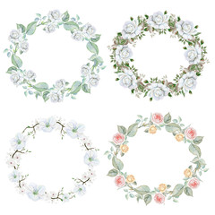 Watercolor set of floral wreaths