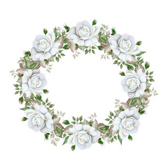 Watercolor floral wreath with white roses