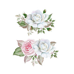 Watercolor rose bouquets