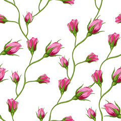 Rosebuds. Seamless background pattern. Hand drawn. Can be used in design, as wrap paper, cover skin, etc. Vector - stock.