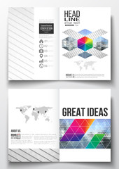 Set of business templates for brochure, magazine, flyer, booklet or annual report. Abstract colorful polygonal background, modern stylish triangle vector texture