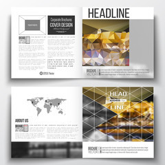 Set of annual report business templates for brochure, magazine, flyer or booklet. Colorful polygonal background, blurred image, night city landscape, modern stylish triangular vector texture