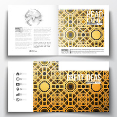Set of annual report business templates for brochure, magazine, flyer or booklet. Eid Al Fitr background. Islamic gold pattern with overlapping geometric square shapes forming abstract ornament