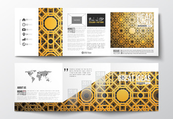 Set of tri-fold brochures, square design templates. Islamic golden vector texture, geometric pattern, abstract ornament. Beautiful background with arabic calligraphy which means - Eid al Fitr- for