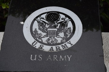 US Army Plaque / Black marble stone carved with the US Army emblem.