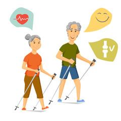 Seniors nordic walking
