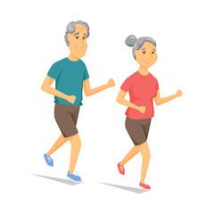 Seniors running and smiling