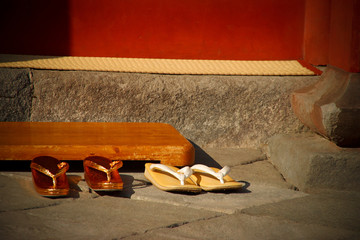 Zori - traditional Japanese shoes before entering a Buddhist temple.