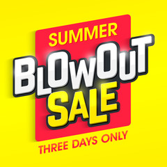 Summer Blowout Sale banner. Special offer, three days only big sale.