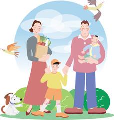 スーパーに出かけた笑顔の家族