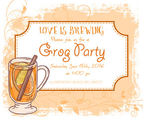 vector hand drawn grog party invitation card, vintage frame, glass and leaves