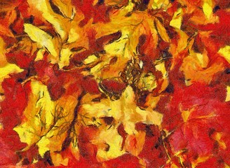 autumn leaves collage in orange and red tones