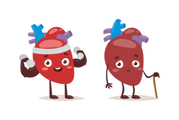 Strong and ill hearts kinds great health care concept. Heartache concept painful organ medical strong and ill hearts. Emergency cardiology cartoon strong and ill hearts funny characters.