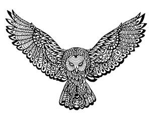 Ethnic Animal Doodle Detail Pattern - Owl Zentangle Illustration