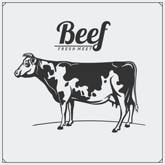 Vector meat labels. Butcher's business logos. Silhouettes of farm animals.