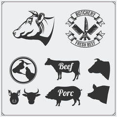 Butcher's business logos, meat labels and design elements. Silhouettes of farm animals.