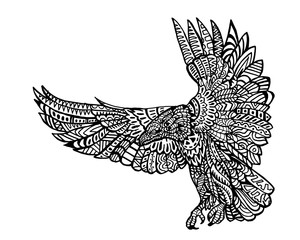 Ethnic Animal Doodle Detail Pattern - Eagle Zentangle Illustration