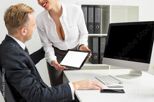 Quot Boss Staring At His Secretary S Cleavage Quot Stock Photo And