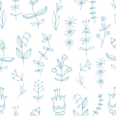 Seamless pattern with grass and flowers on  white background. Different types of plants. Summer season. Vector contour image.  Doodle style.