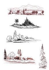 Set terrain on an isolated white background. Drawing made with ink, black liner. The images - Pine, city sketch,