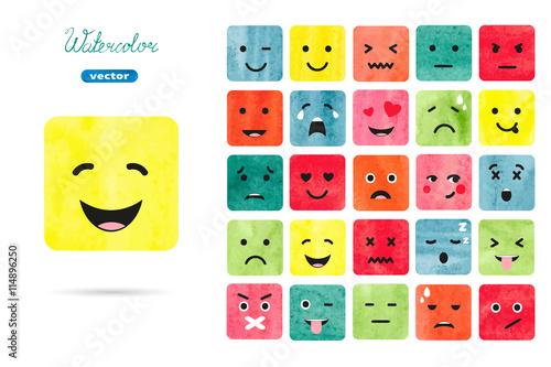 Watercolor Emoticons Set Vector Collection Of Emotions Symbols