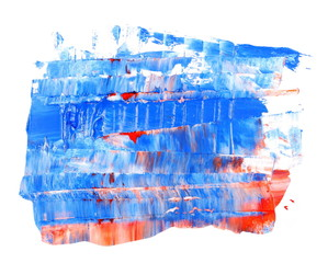 grunge blue and red brush strokes oil paint isolated on white background
