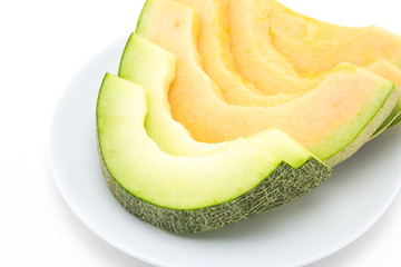 cantaloupe melon slices on the plate