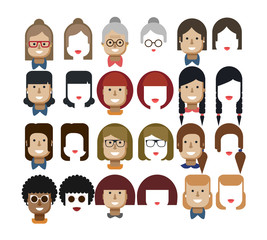illustration set avatars female faces, design elements, hairstyles, glasses