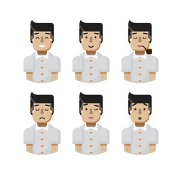 illustration set male avatars, avatar with wide smile