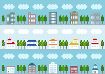 街並 イラスト 背景 カラフル 青バック