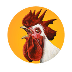 Handcrafted rooster portrait