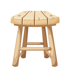 Vector wooden stool isolated on a white background.