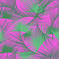 Seamless tropical pattern with green palm leaves. Jungle texture. Perfect for wallpapers, pattern fills, web page backgrounds, surface textures, textile. Vector Illustration