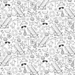 Seamless pattern with different sea beach elements