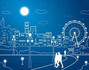 Night city, people walk in the park, ferris wheel, vector design art