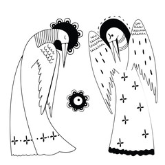 Set of two stylized cranes in dresses