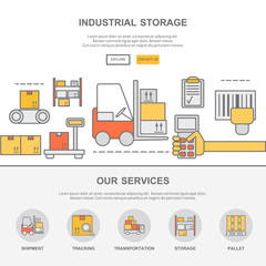 Web design template with thin line icons of warehouse stock