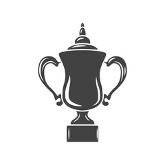 Cup prize trophy with handles. Black icon, logo element, flat vector illustration isolated on white background.