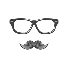 Glasses and moustache. Black icon, logo element, flat vector illustration isolated on white background.