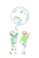 チョークと子ども2人、地球