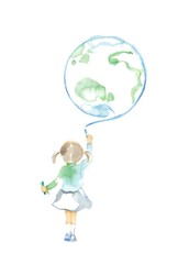 チョークと子ども1人、地球