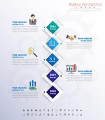 Design business concept timeline. Infograph template,  paper num